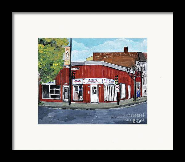 Verdun Framed Print featuring the painting Centre Pizza Verdun by Reb Frost