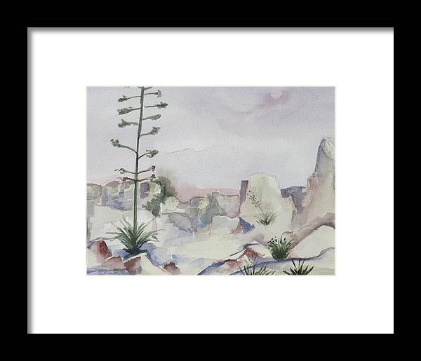 Landscape Framed Print featuring the painting Century Plant by Kathy Mitchell