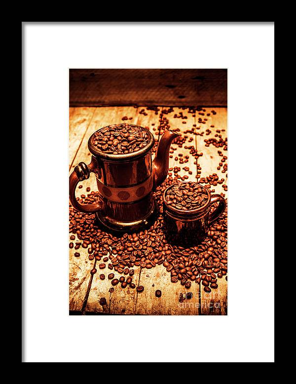 Hot Framed Print featuring the photograph Ceramic Coffee Pot And Mug Overflowing With Beans by Jorgo Photography - Wall Art Gallery