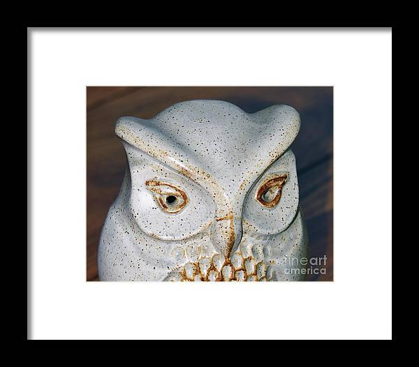 Ceramic Owl Money Box Pottery Pot Framed Print featuring the photograph Ceramic Owl. by Stan Pritchard