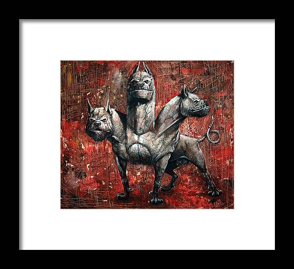 Painting Framed Print featuring the painting Cerberus by Sascha Lunyakov