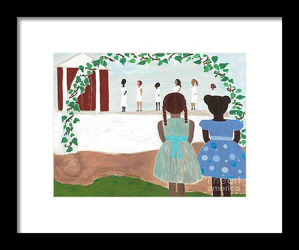 African American Framed Print featuring the painting Ceremony In Sisterhood by Kafia Haile