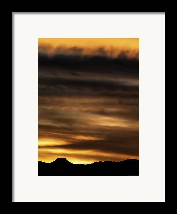 Sunset Framed Print featuring the photograph Cerro Pedernal by Britt Runyon