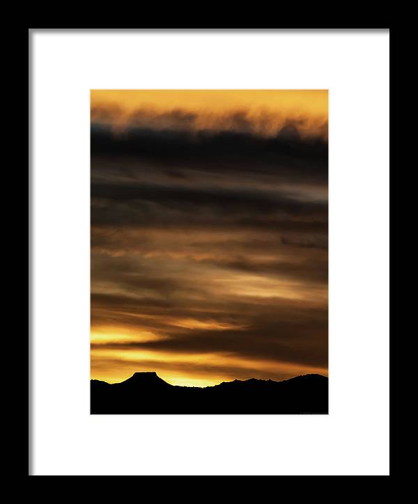 Sunset Framed Print featuring the photograph Cerro Pedernal by Britt Runyon