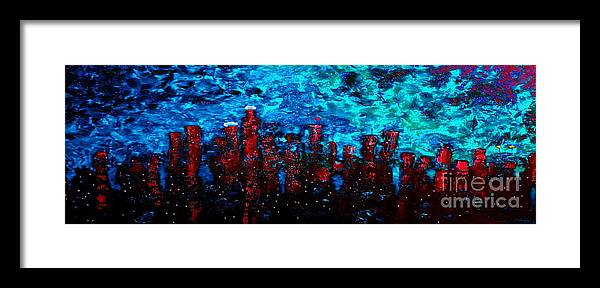 Cityscapes Framed Print featuring the painting Cerulean Angel by Chris Haugen