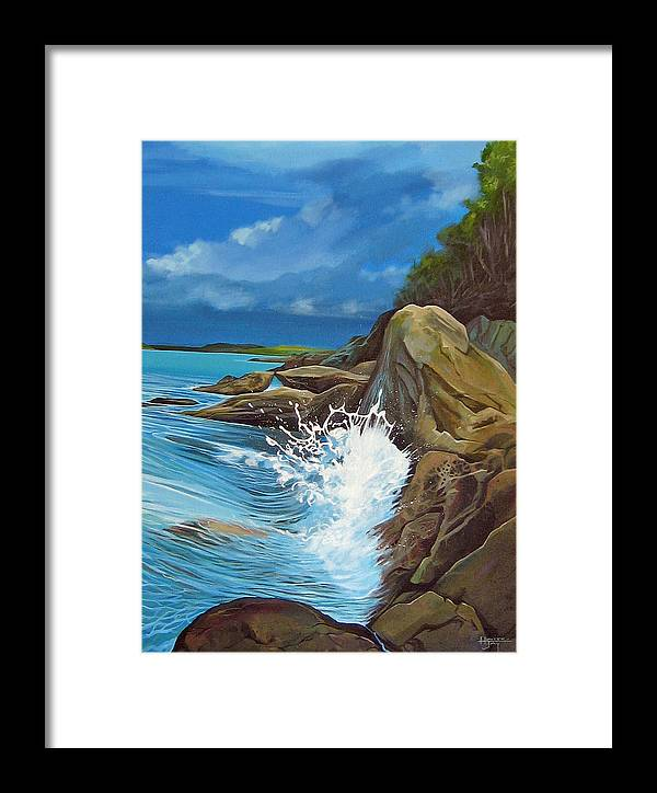 Ocean Framed Print featuring the painting Cerulean by Hunter Jay
