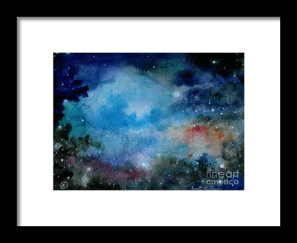 Atmospheric Framed Print featuring the painting Cerulean Space Clouds by Janet Hinshaw