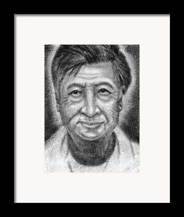 Cesar Framed Print featuring the drawing Cesar El Santo by Roberto Valdes Sanchez