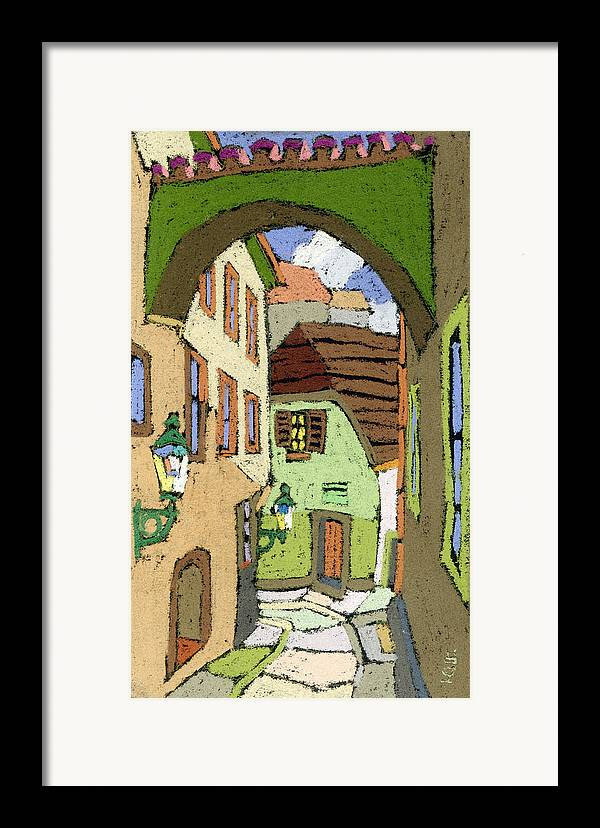 Pastel Framed Print featuring the painting Cesky Krumlov Masna Street by Yuriy Shevchuk