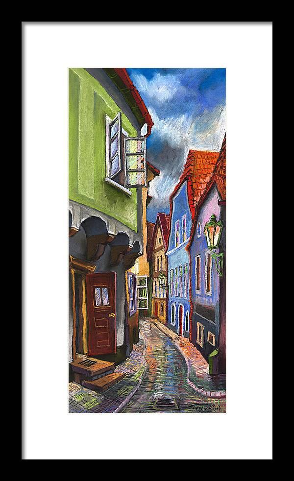 Pastel Chesky Krumlov Old Street Architectur Framed Print featuring the painting Cesky Krumlov Old Street 1 by Yuriy Shevchuk