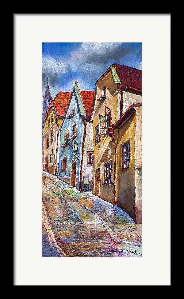 Pastel Chesky Krumlov Old Street Architectur Framed Print featuring the painting Cesky Krumlov Old Street 2 by Yuriy Shevchuk