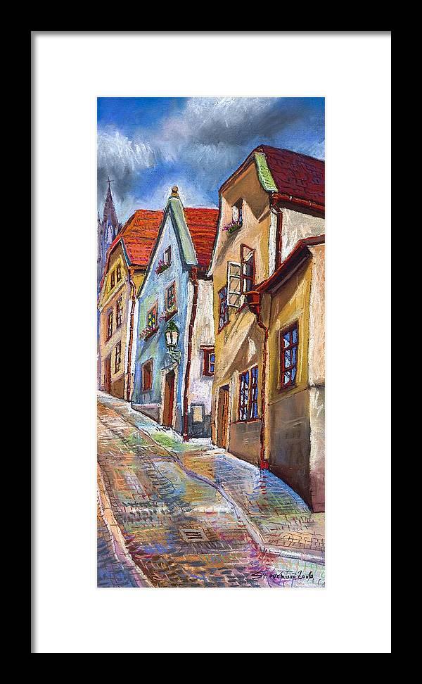 Pastel Chesky Krumlov Old Street Architectur Framed Print featuring the painting Cesky Krumlov Old Street 2 by Yuriy Shevchuk