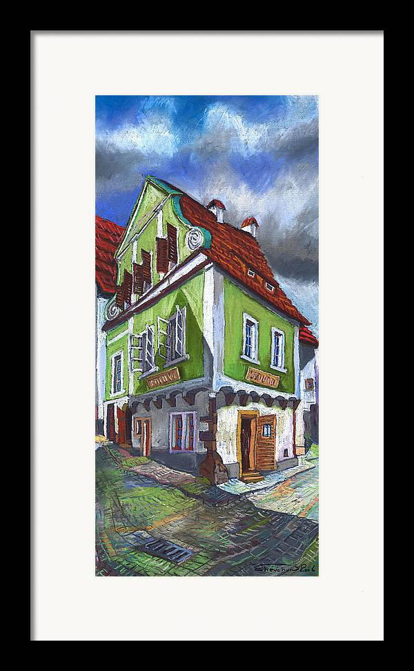 Pastel Chesky Krumlov Old Street Cityscape Realism Architectur Framed Print featuring the painting Cesky Krumlov Old Street 3 by Yuriy Shevchuk