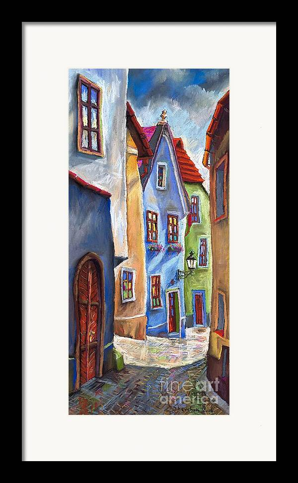 Cityscape Framed Print featuring the painting Cesky Krumlov Old Street by Yuriy Shevchuk