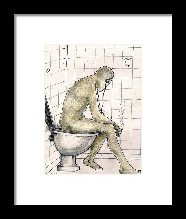 Life Naked Music Framed Print featuring the drawing C'est la vie by Veronica Jackson