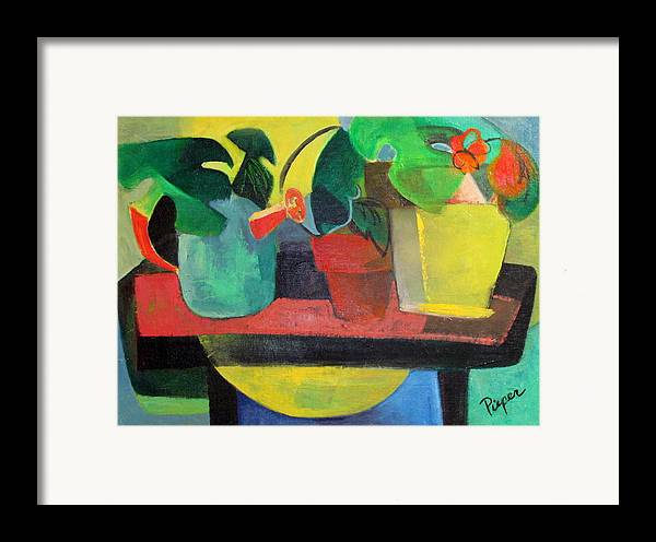 Potting Stand Framed Print featuring the painting Cezanne Potting Stand by Betty Pieper