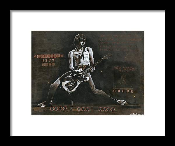 Rock And Roll Framed Print featuring the painting Cbgb's 1979 by Ray Stephenson