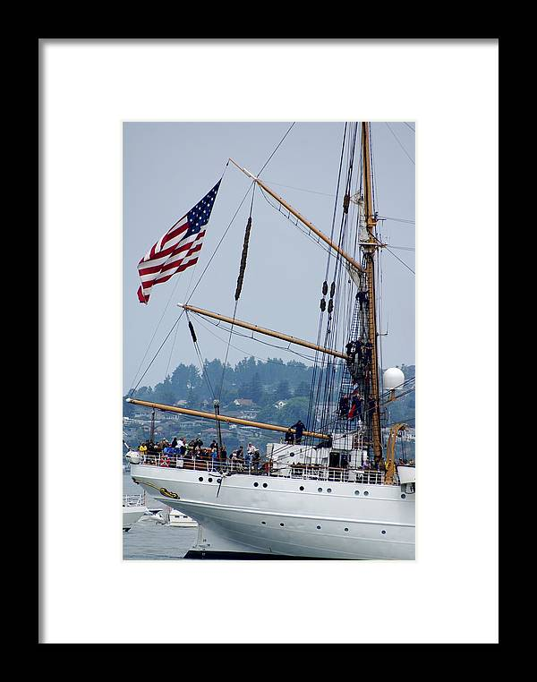 Tall Ships Framed Print featuring the photograph Cgc Eagle by Sonja Anderson
