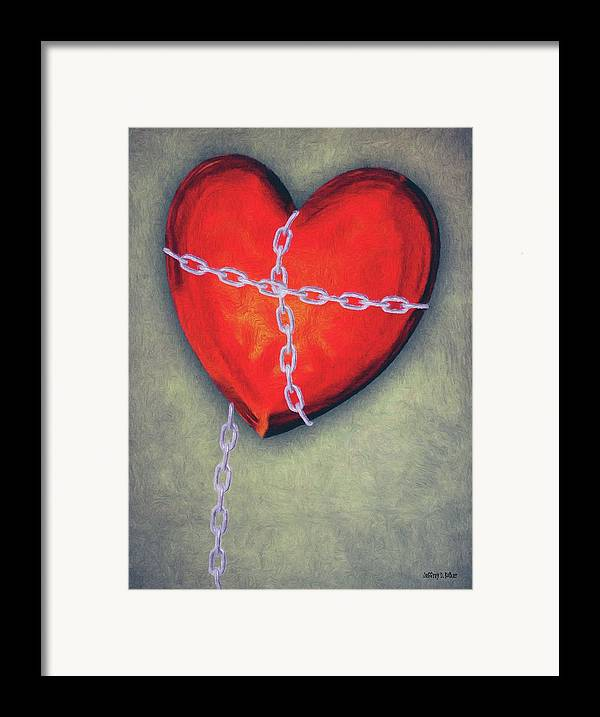 Heart Framed Print featuring the painting Chained Heart by Jeffrey Kolker
