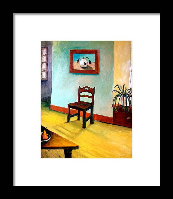 Apartment Framed Print featuring the painting Chair And Pears Interior by Michelle Calkins