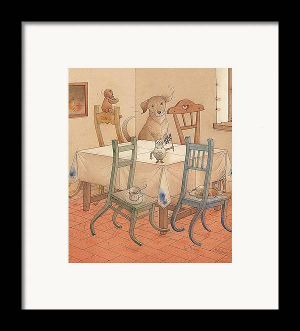 Kitchen Chair Race Dog Framed Print featuring the painting Chair Race by Kestutis Kasparavicius