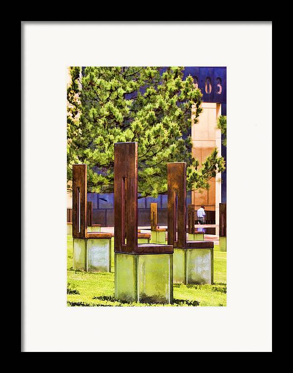 Oklahoma Framed Print featuring the photograph Chairs At The Gate by Ricky Barnard