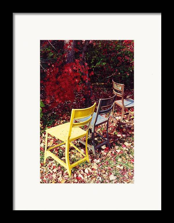 Fall Landscape Framed Print featuring the photograph Chairs by Evelynn Eighmey