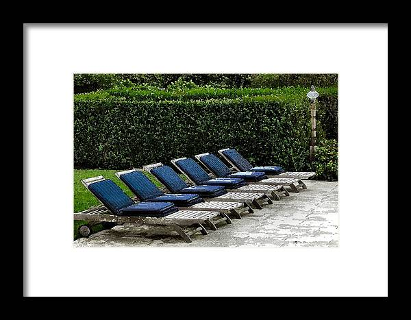 Chair Framed Print featuring the digital art Chairs Of The Deck by Lin Grosvenor