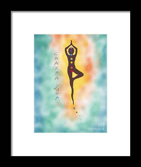 Chakra Framed Print featuring the digital art Chakra Yoga Art By Valentina Miletic by Valentina Miletic
