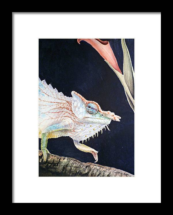 Chameleon Framed Print featuring the painting Chameleon by Irina Sztukowski