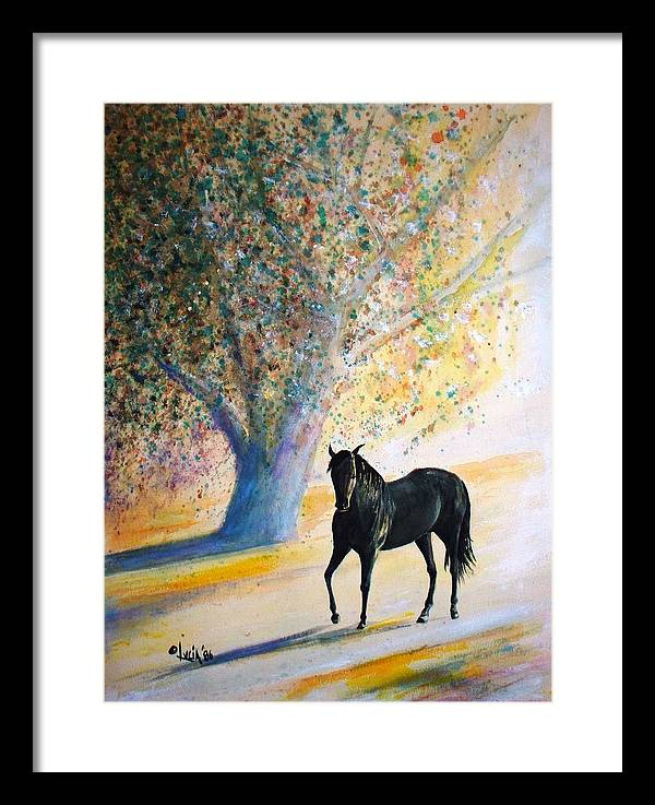 Watercolor. Horses. Framed Print featuring the print Champ by Carl Lucia