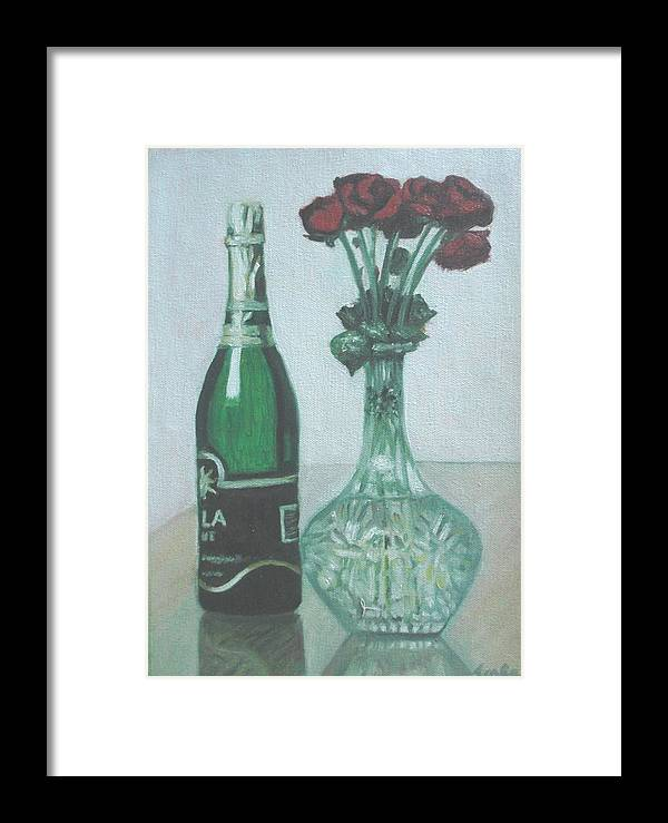 Champagne Framed Print featuring the painting Champagne And Roses by Usha Shantharam