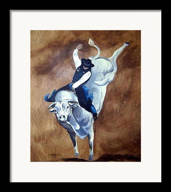 Bullrider Framed Print featuring the painting Champion Ride by Glenda Smith