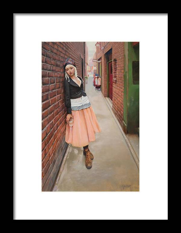 Victoria Framed Print featuring the painting Chance Meeting In Fan Tan Alley by Naomi Grindlay