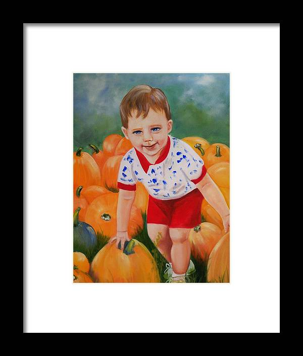 Portrait Framed Print featuring the painting Chance With The Pumpkins by Joni McPherson