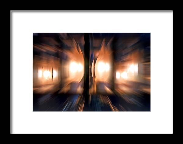 Lights Framed Print featuring the photograph Chandelier With Zoom Effect by Steve Ohlsen