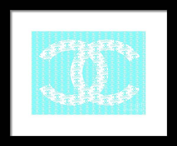 Chanel Logo Blue Teal White Framed Print