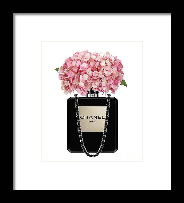 9cd5f6b69d4c69 Chanel Framed Print featuring the painting Chanel Perfume Bag With Pink  Hydrangea 2 by Del Art