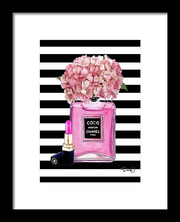 c7f25030162c00 Chanel Poster Pink Perfume Hydrangea Print Framed Print by Del Art