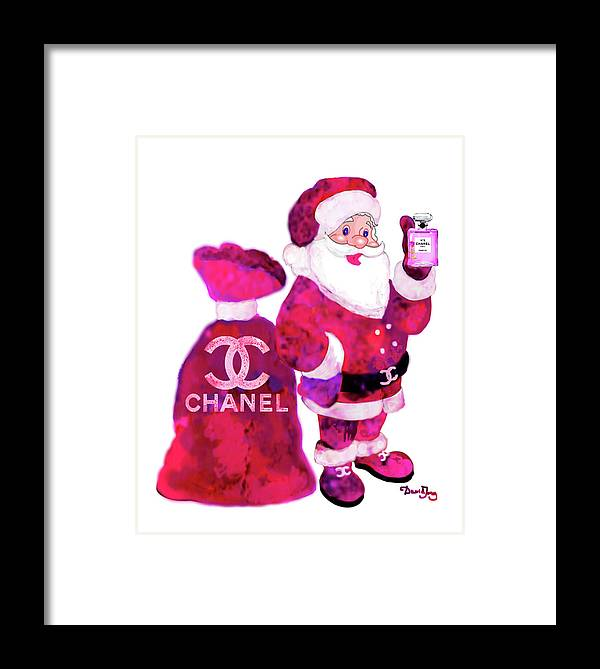 Chanel Santa Claus With Perfume Framed Print by Del Art