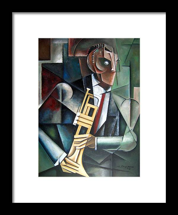Miles Davis Jazz Trumpet Cubism Framed Print featuring the painting Changeling by Martel Chapman