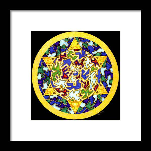 Puzzle Pieces Framed Print featuring the painting Changes  Mandala Series by Pam Ellis