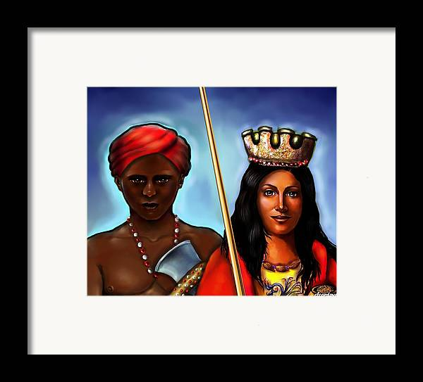 Chango Framed Print featuring the painting Chango And Saint Barbara Together by Carmen Cordova