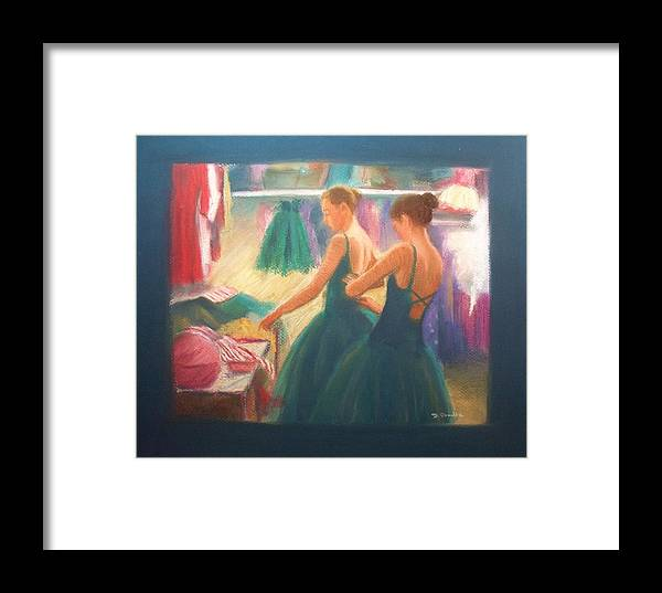 Ballet Dancers Framed Print featuring the painting Channeling Degas by Diane Caudle