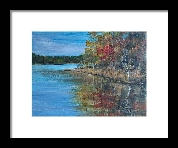 Fall Framed Print featuring the painting Channings Lake by Pete Maier