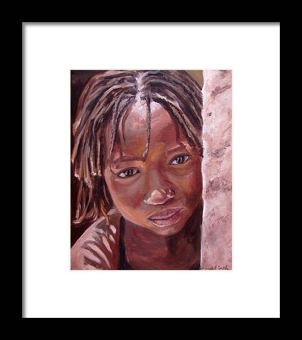 African Girl Framed Print featuring the painting Chantal by Tahirih Goffic
