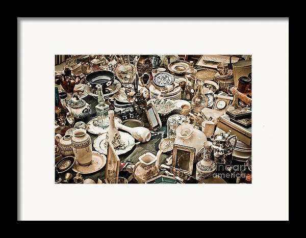 Old; Antique; Vintage; Retro; Background; Style; Art; Decor; Decorating; Decoration; Grunge; Antiquities; Object; Old-fashioned; Classic; Collection; Valuable; Junk; Together; Gathered; Framed Print featuring the photograph Chaos by Gabriela Insuratelu