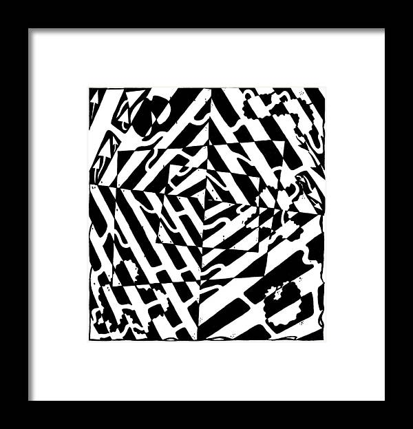 Chaos Framed Print featuring the painting Chaos Maze Optical Illusion by Yonatan Frimer Maze Artist