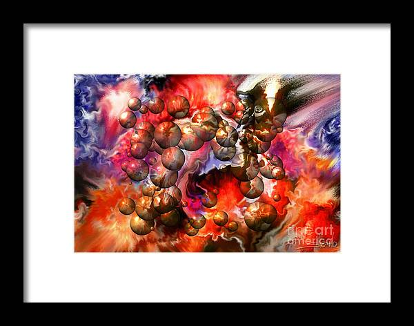 Spano Framed Print featuring the painting Chaos Spheres By Spano by Michael Spano