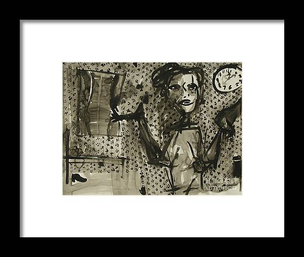 Thoughts Framed Print featuring the painting Chaos Where The Hell Is My Other Shoe by Sarah Goodbread